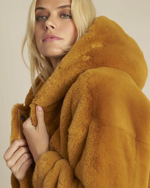 Manteau jaune fausse fourrure capuche Emy (2) - 1-2-3