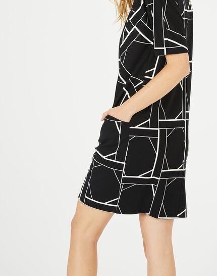 Armance black and white checked dress (2) - 1-2-3