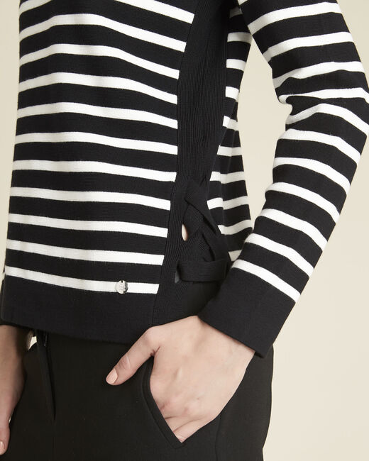 Boat black striped sweater with lacing on the side (1) - 1-2-3