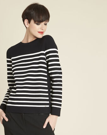 Boat black striped sweater with lacing on the side black.