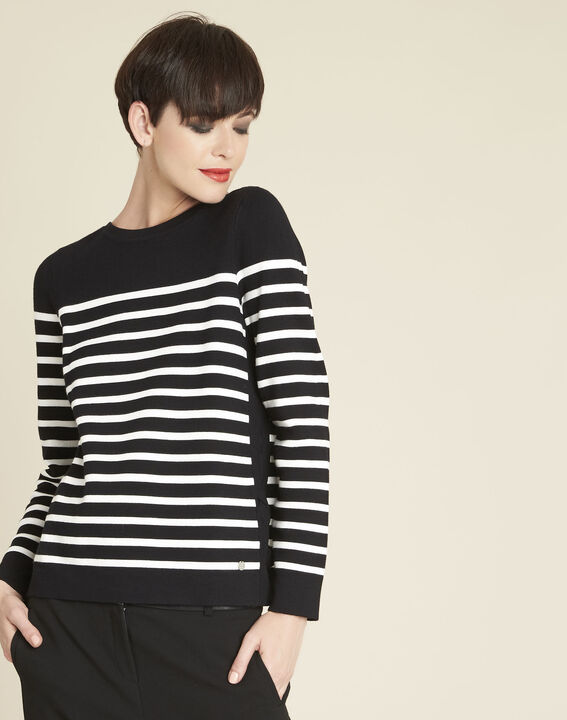 Boat black striped sweater with lacing on the side PhotoZ | 1-2-3
