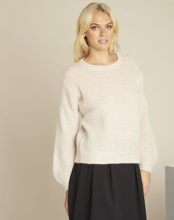 Pull nude laine mohair balou poudre.