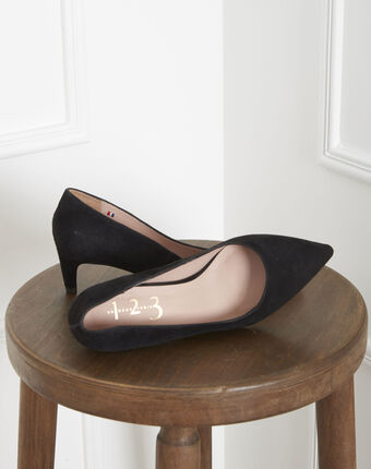 Lili black high heels in suede goatskin black.
