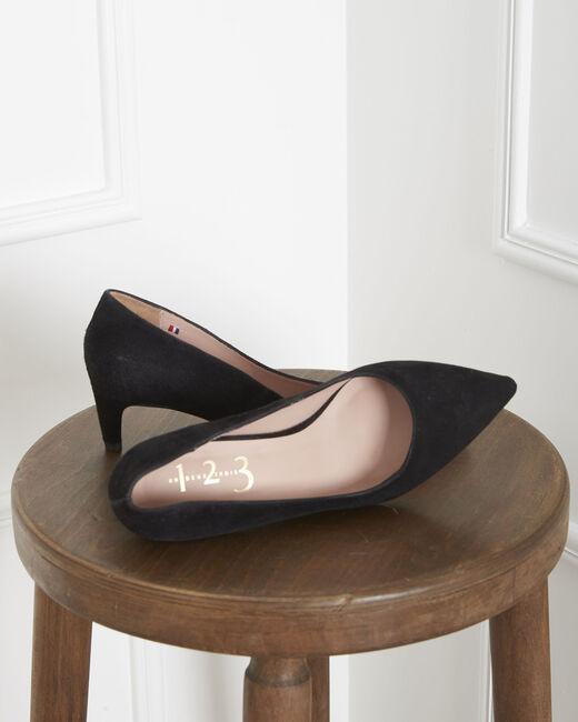 Lili black high heels in suede goatskin (1) - 1-2-3