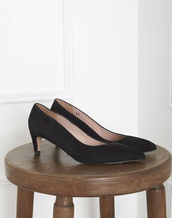 Lili black high heels in suede goatskin black.