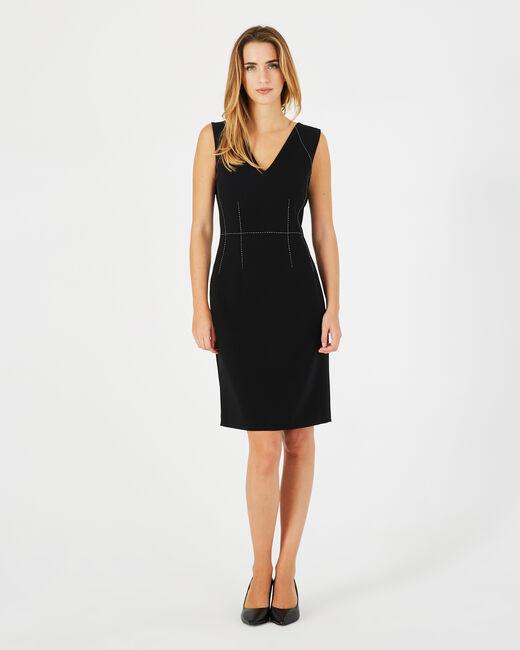 Schwarzes tailliertes Kleid Atlas (1) - 1-2-3