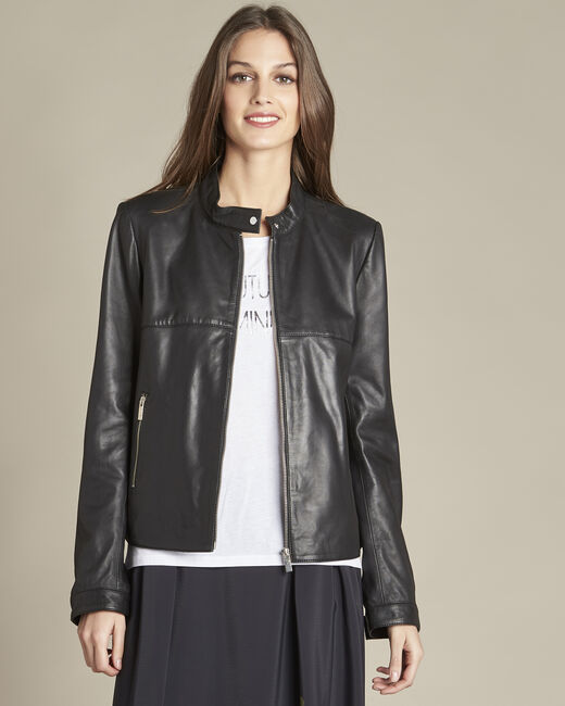 Veste noire courte en cuir Tibo (1) - 1-2-3
