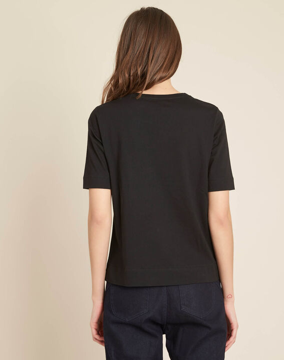 Schwarzes besticktes T-Shirt mit Zebra-Motiv Energy (4) - 1-2-3