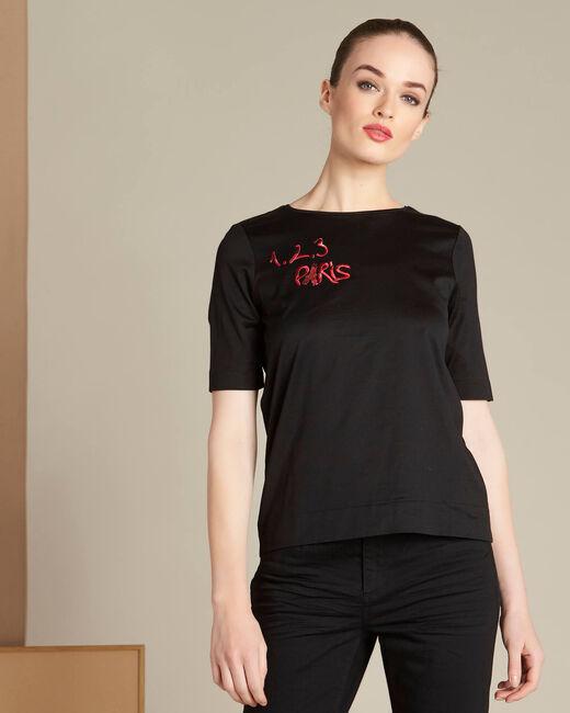 Tee-shirt noir broderie 123 Ellipse (2) - 1-2-3