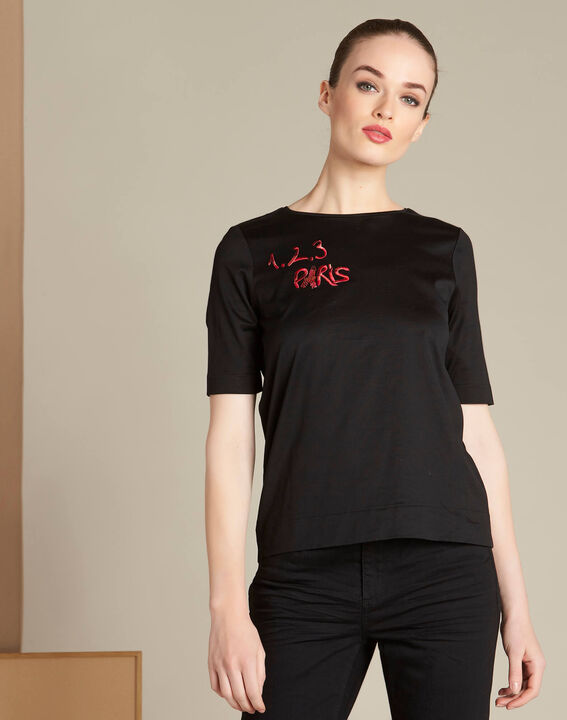 Schwarzes T-Shirt mit 123 Stickerei Ellipse (3) - 1-2-3