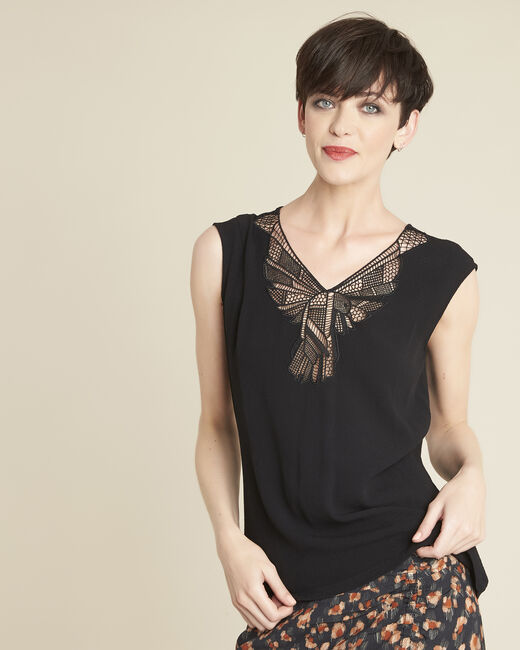 Colline black blouse with romantic neckline (1) - 1-2-3