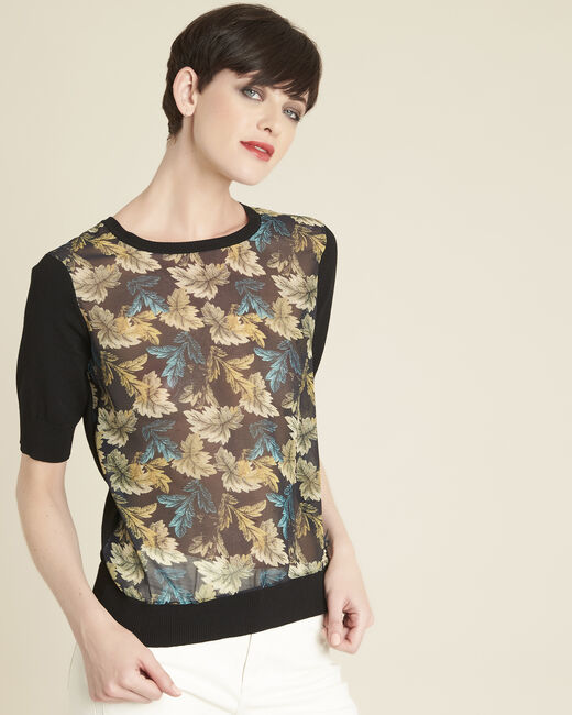 Belombra leaf print sweater in a cotton mix (2) - 1-2-3