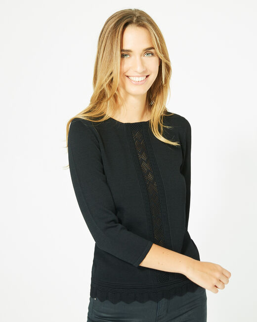 Pavlova black sweater with rounded neckline and lace insert! (1) - 1-2-3