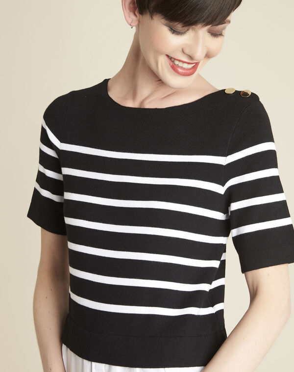 Pull chemise noir rayé Brise (2) - 1-2-3