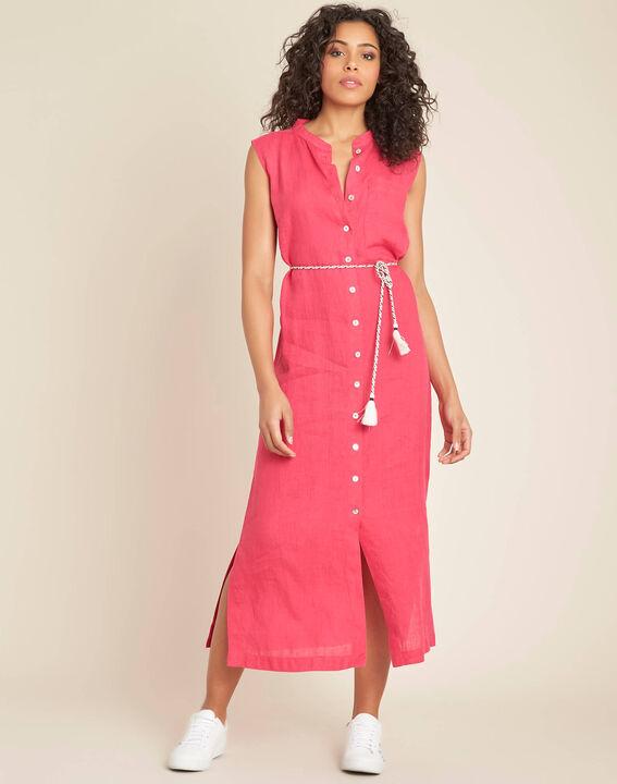Papillon log fuchsia linen shirt-dress (3) - 1-2-3