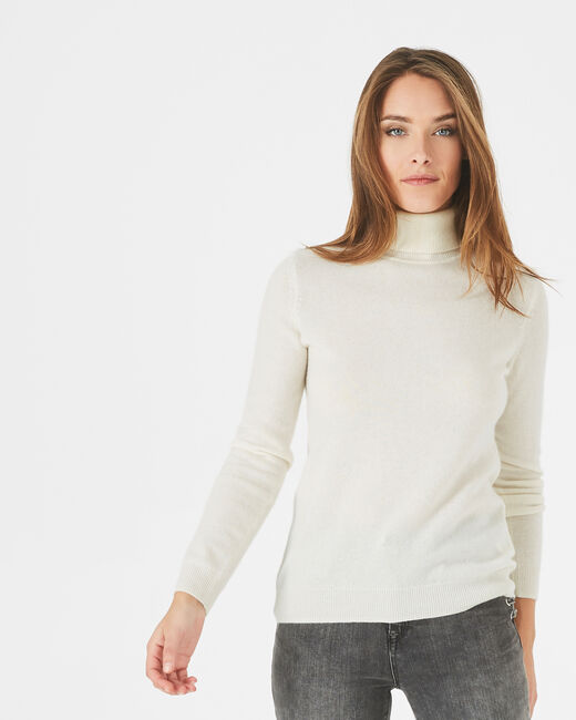 Perceneige ecru polo-neck cashmere sweater (2) - 1-2-3