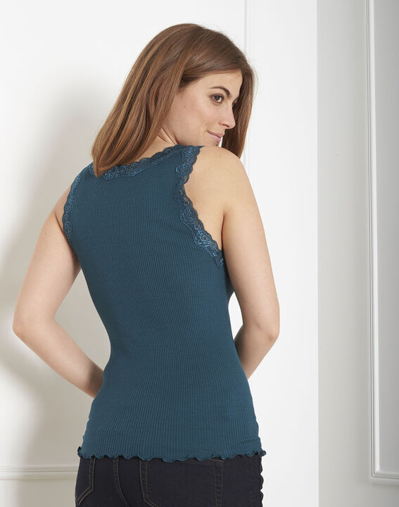 Guest green vest top in cotton and silk with lace neckline (3) - Maison 123