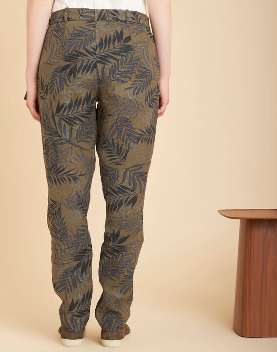 Jill tapered khaki palm printed linen trousers (4) - 1-2-3