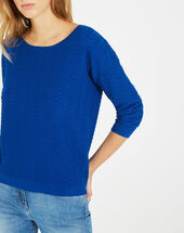 Pop royal blue sweater with stunning stitchwork royal blue.