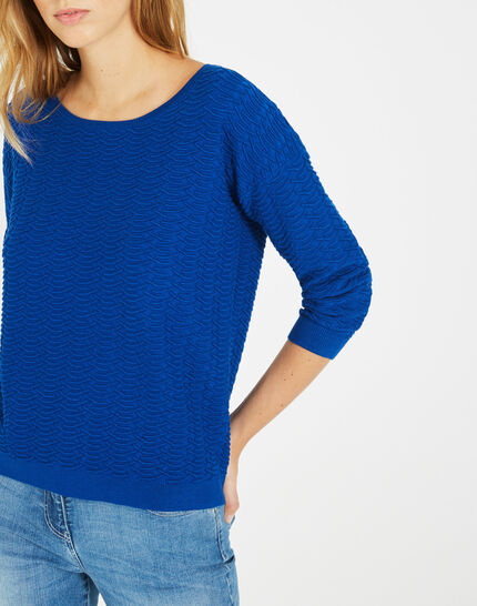 Pop royal blue sweater with stunning stitchwork (2) - 1-2-3