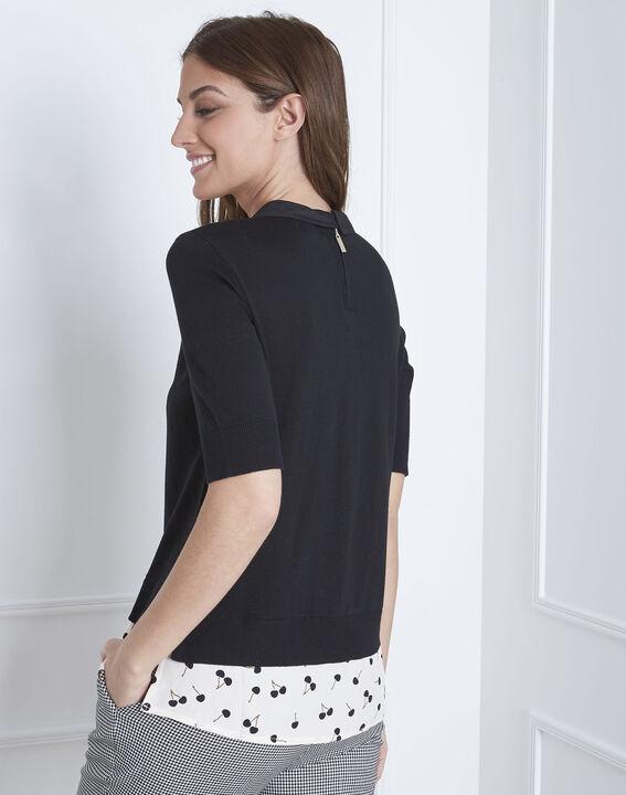 Schwarzer Pullover mit Hemdblusenkragen As (4) - Maison 123