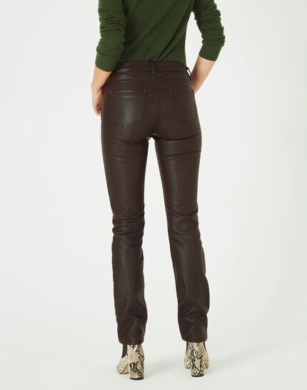 William slim-cut chocolate faux-leather trousers (4) - 1-2-3
