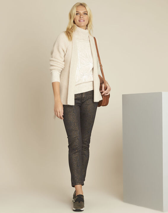 Bloom cream turtleneck pullover with embroidery (2) - Maison 123