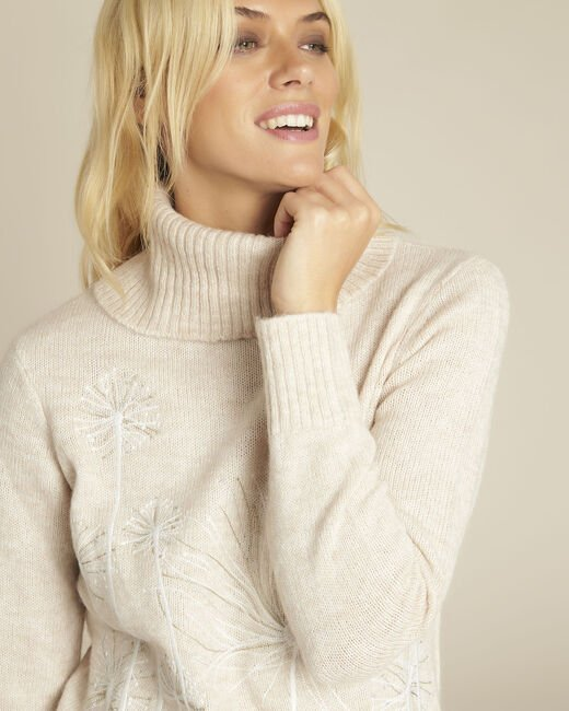 Bloom cream turtleneck pullover with embroidery (2) - 1-2-3