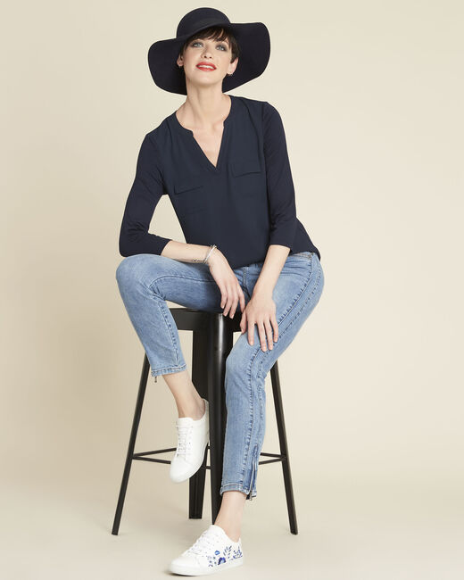 Genna navy, dual-fabric blouse with pockets  (1) - 1-2-3