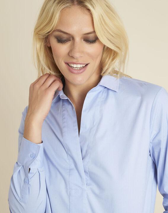 Cyrielle azure blue poplin shirt (3) - 1-2-3