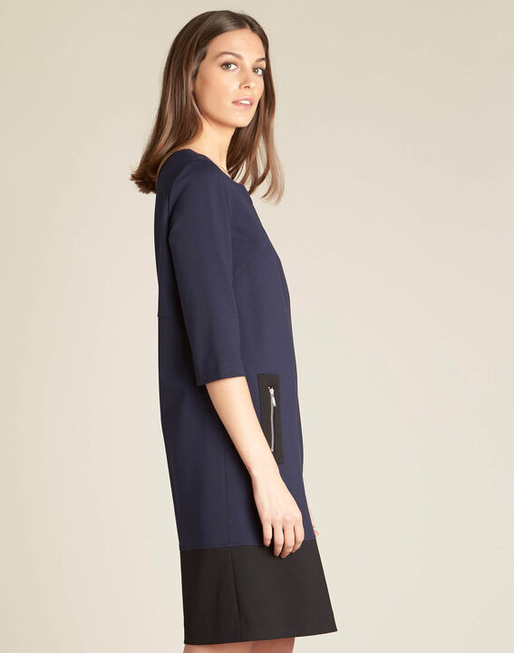Patty straight-cut navy blue dress with zips (3) - 1-2-3