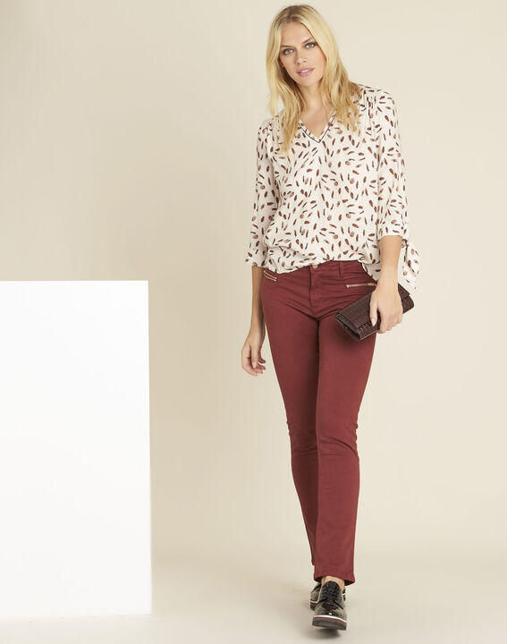 Cynthia nude blouse with feather print (2) - 1-2-3