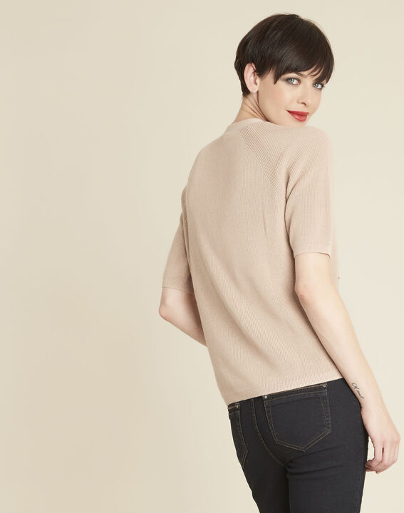 Boheme pink sweater with lacing and eyelets on the neckline (4) - 1-2-3