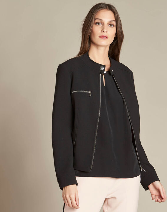 Chataigne fitted bomber-style black jacket (3) - 1-2-3