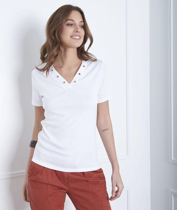 Tee-shirt blanc encolure oeillets Basic PhotoZ | 1-2-3