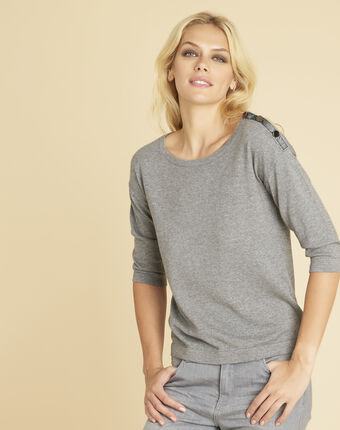 Betty grey sweater with decorative detailing on the shoulders mid chine.