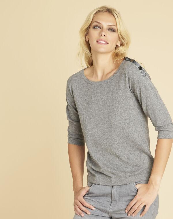 Pull gris détails fantaisies épaules Betty (1) - 1-2-3