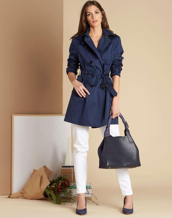 Kate dark indigo braided trench coat (2) - 1-2-3
