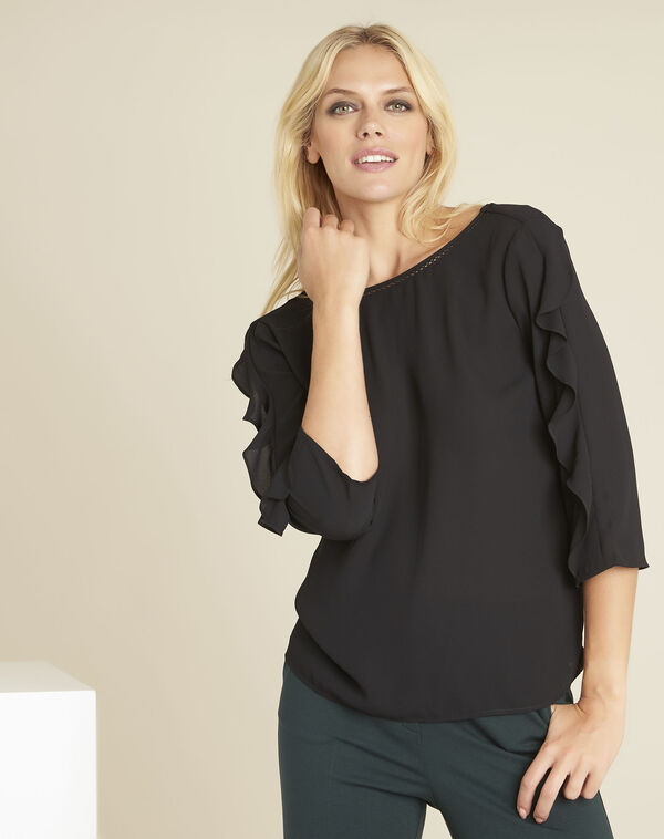 Zwarte blouse uit twee materialen met volants Cleo (1) - 37653