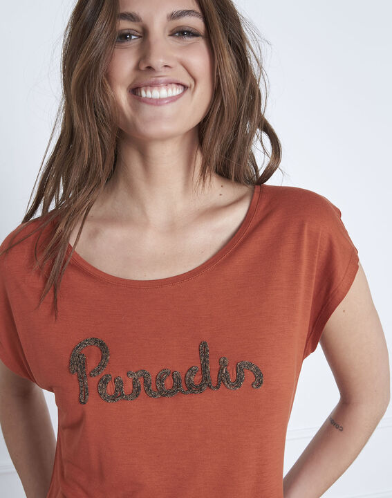 Tee-shirt orange col rond Pippa (3) - 1-2-3