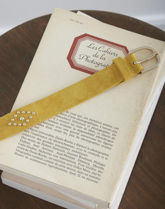 Ceinture jaune en cuir effet velours détails cloutés Kalipso (2) - Maison 123