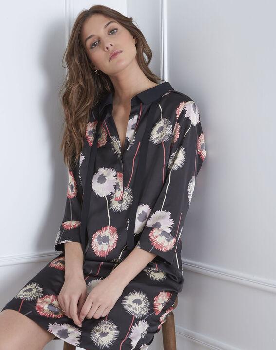 Schwarzes Kleid mit Blumen-Print Léontine (2) - Maison 123