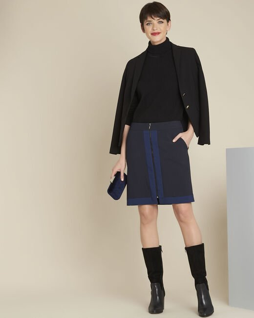 Aramis navy bi-colour skirt with zip (1) - 1-2-3