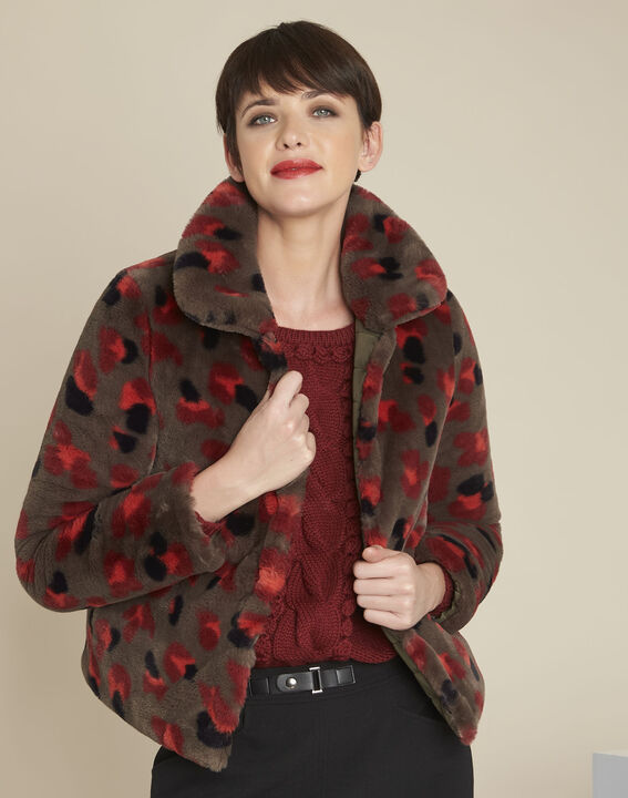 Elfi printed khaki faux fur jacket PhotoZ | 1-2-3