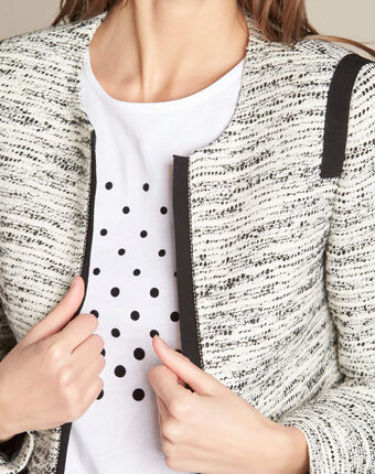 Clelia jacket with grosgrain detailing black/white.