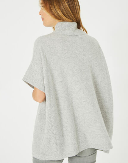 Passiflore marl grey cashmere cape with polo neck (4) - 1-2-3
