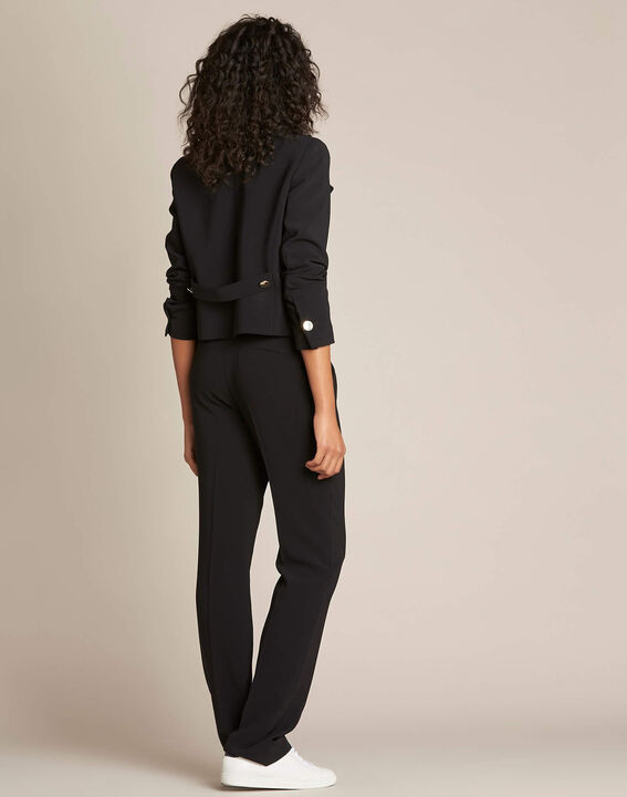 Citron double-breasted cropped black jacket (4) - 1-2-3