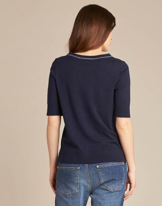 Marineblauwe trui met korte mouwen van wol en zijde Nevada (4) - 37653