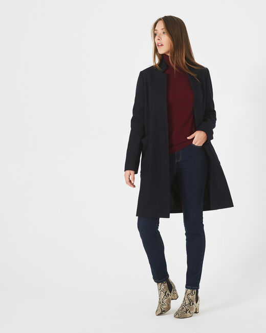 Java bis mid-length navy blue coat with notched collar (1) - 1-2-3