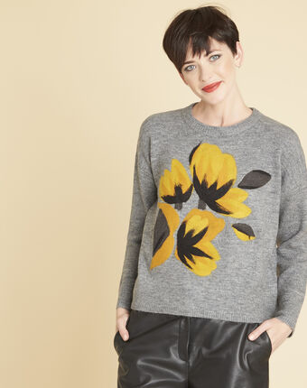 Bruyere grey sweater with floral print mid chine.
